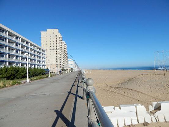 Looking north along the Virginia Beach Boardwalk